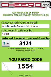 CHRYSLER & JEEP RADIO CODE CALC